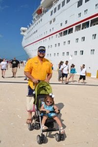 Daddy and Annelise in Progresso outside of the Carnival Elation