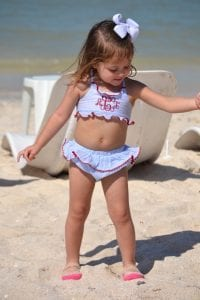 Annelise dancing on the beach in Progresso