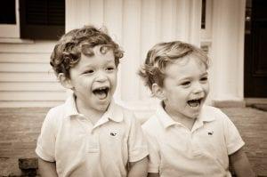 Roubion Twins - kids laughing B&W-LR