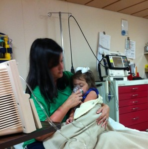 Mommy and Annelise in the Carnival Elation infirmary