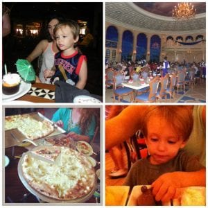 Birthday Cupcake, Be Our Guest Dining room, Via Napoli pizza, dessert at The Wave