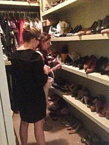 Aimee giving me advice on organizing my shoes
