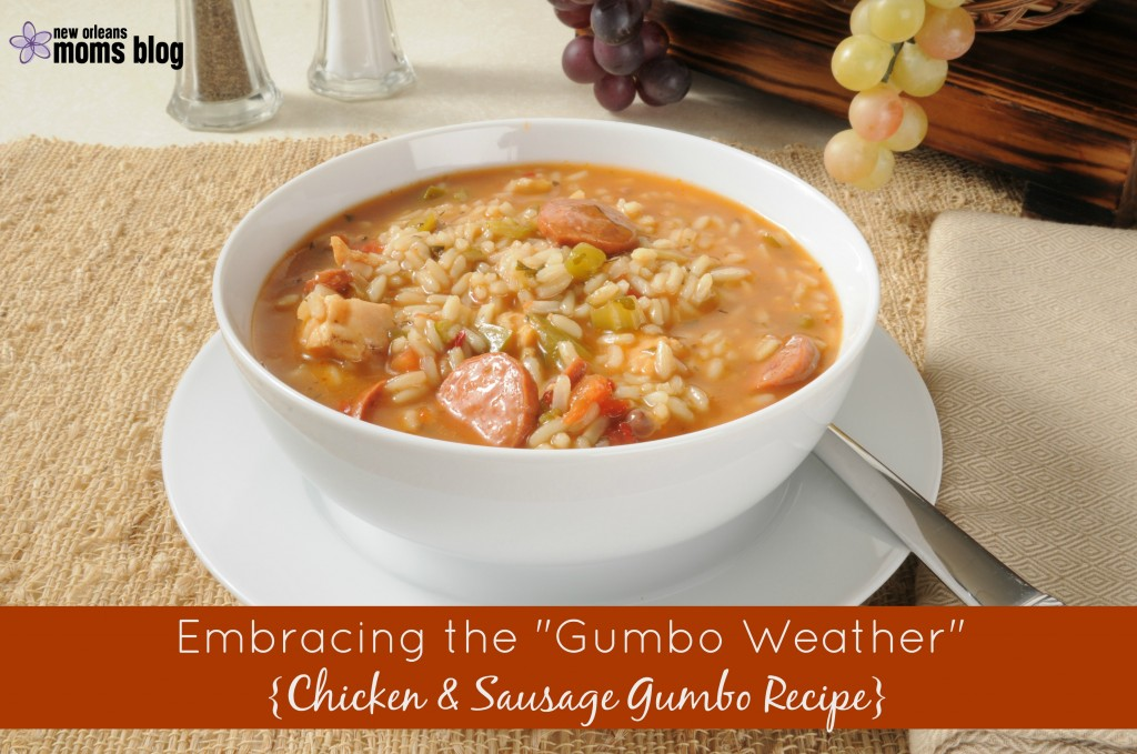 Sausage and chicken gumbo with rice in a bowl