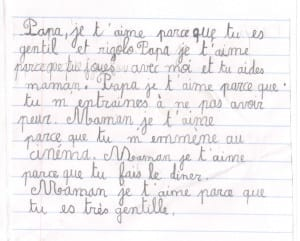 A cute mother's day note I got from Oliver. I have no idea what it says.