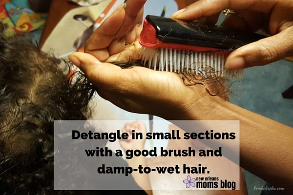 Detangle in small sections with a good brush with damp to wet hair.