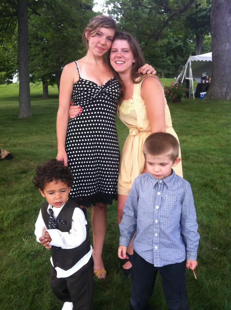 My sister and I with our children