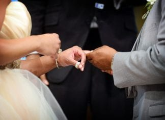 husband and wife exchanging rings