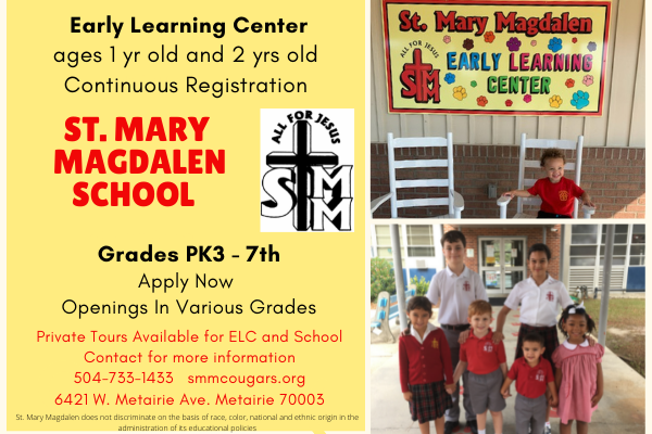 St. Mary Magdalen School and Early Learning Center are committed to providing students with a quality education steeped in the teachings of Jesus.