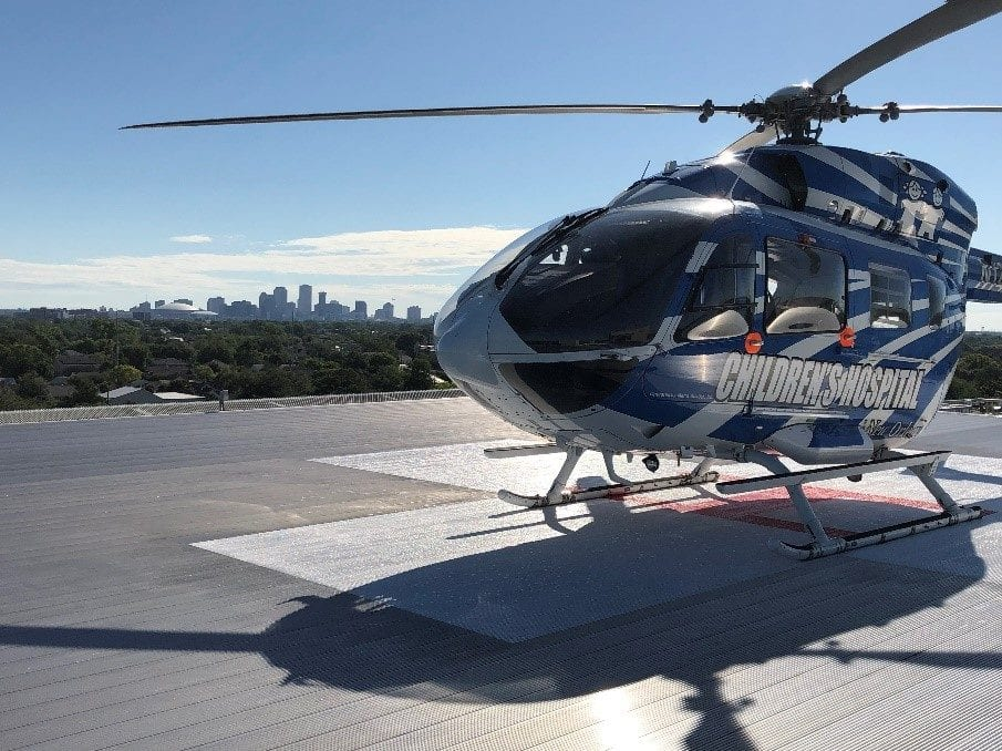 The Children's Hospital helicopter, Abby, provides transport to critically ill children.