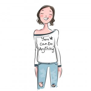 drawing mom with shirt that says you can do anything