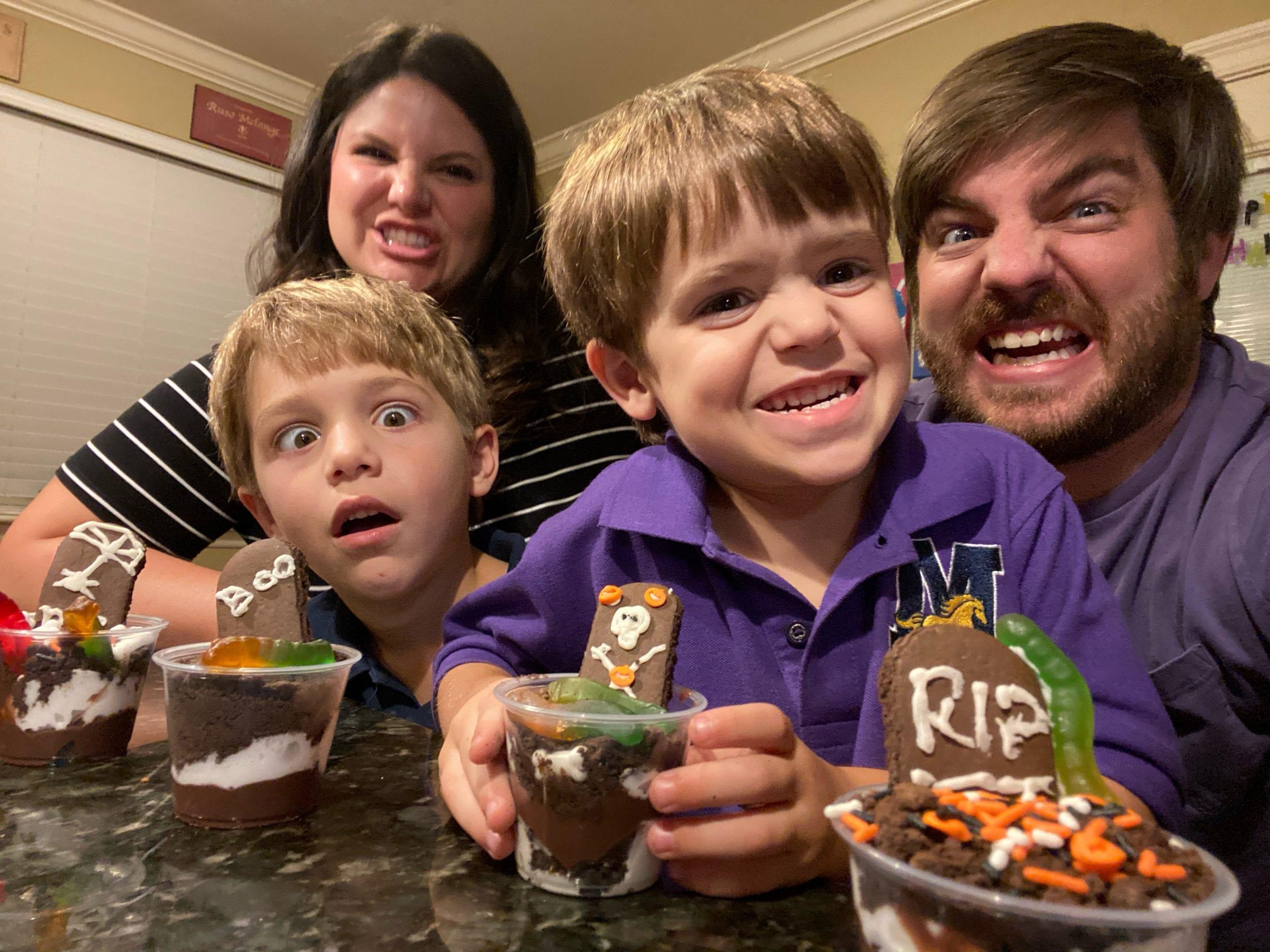 family activity of making halloween treats