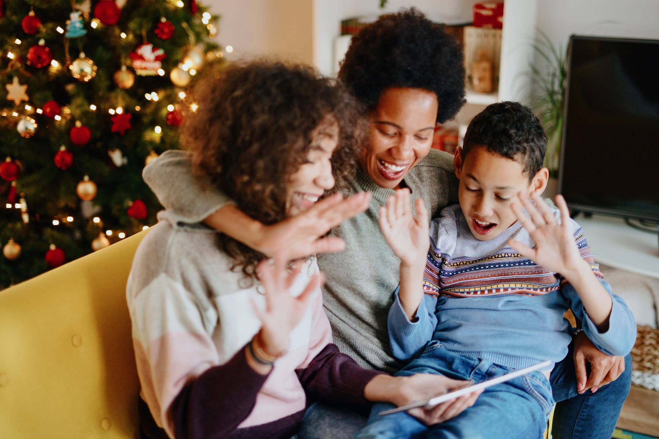 family on video call during holidays