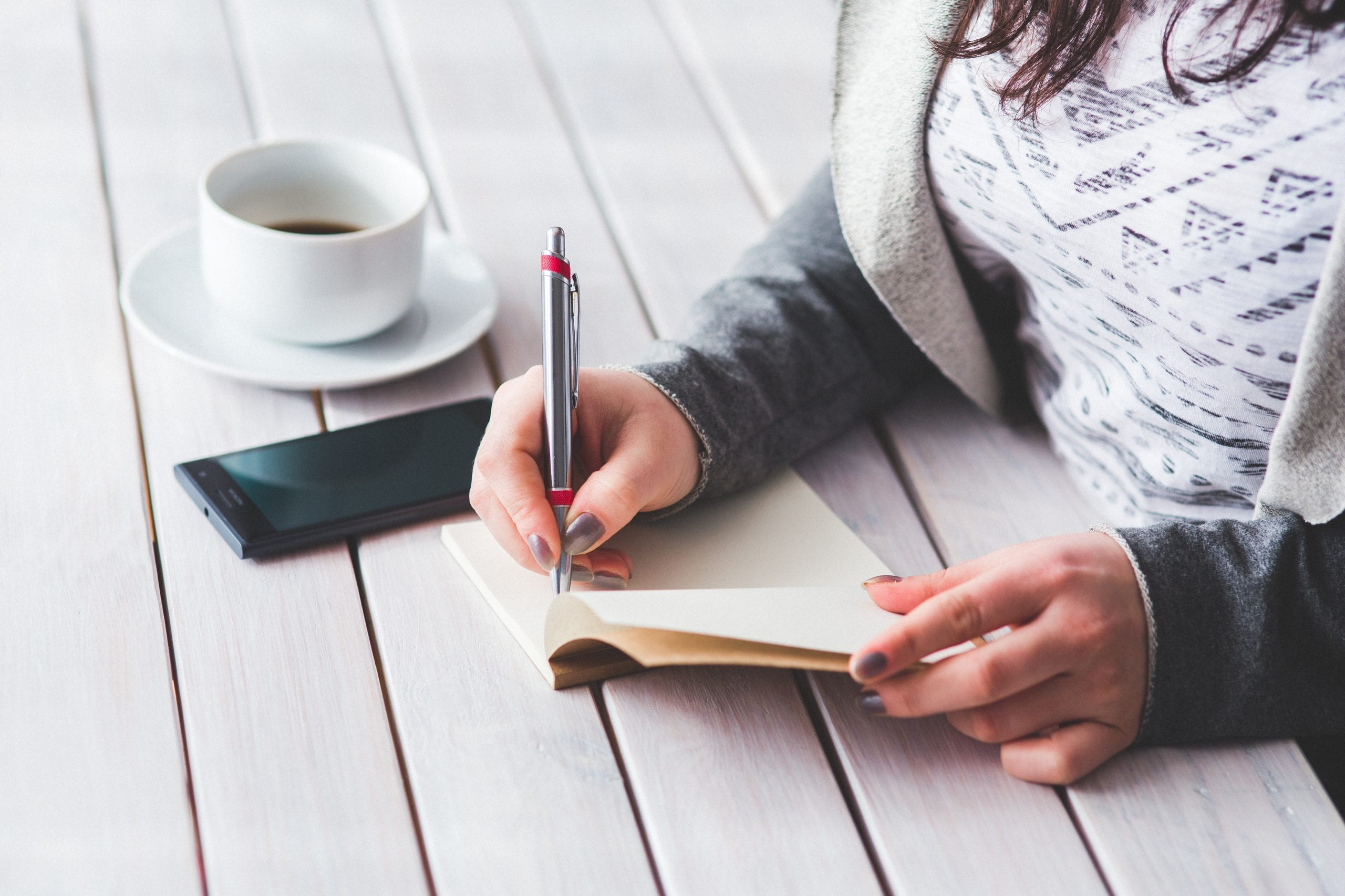 woman writing in journal with coffee cup next to her