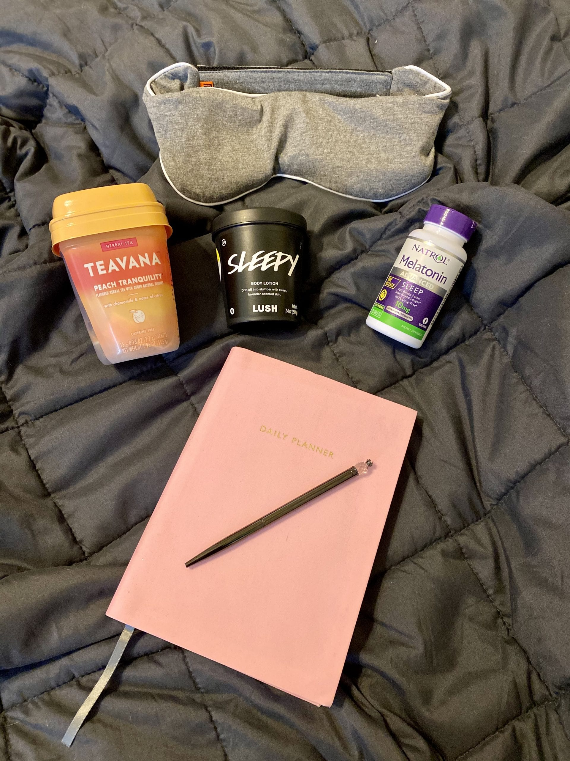 sleep aids such as melatonin, tea and weighted blanket