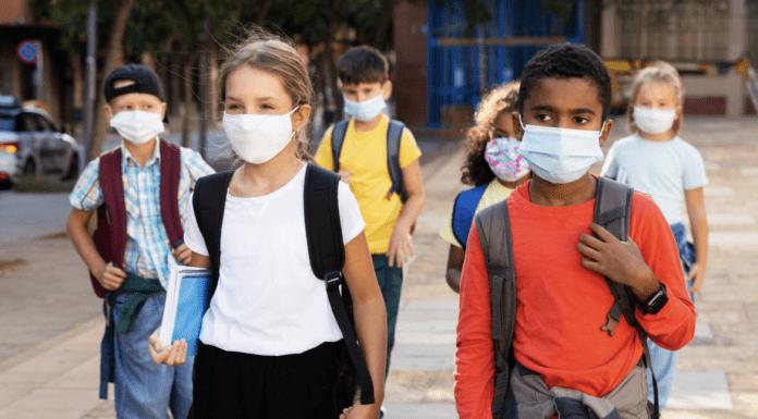 children in masks at school