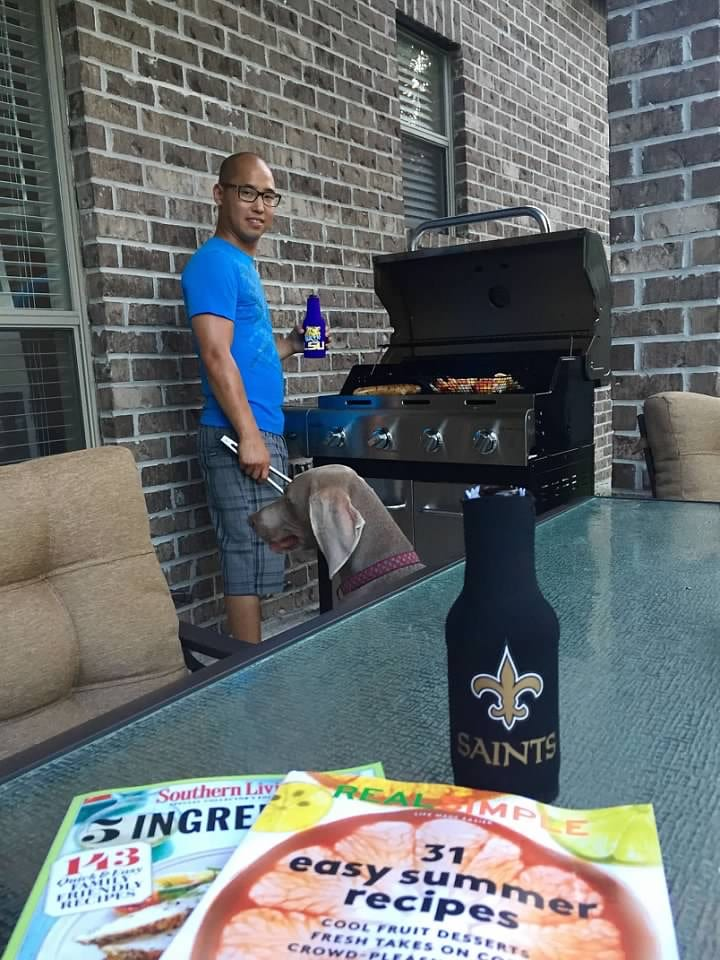husband in charge of the grill during the summer